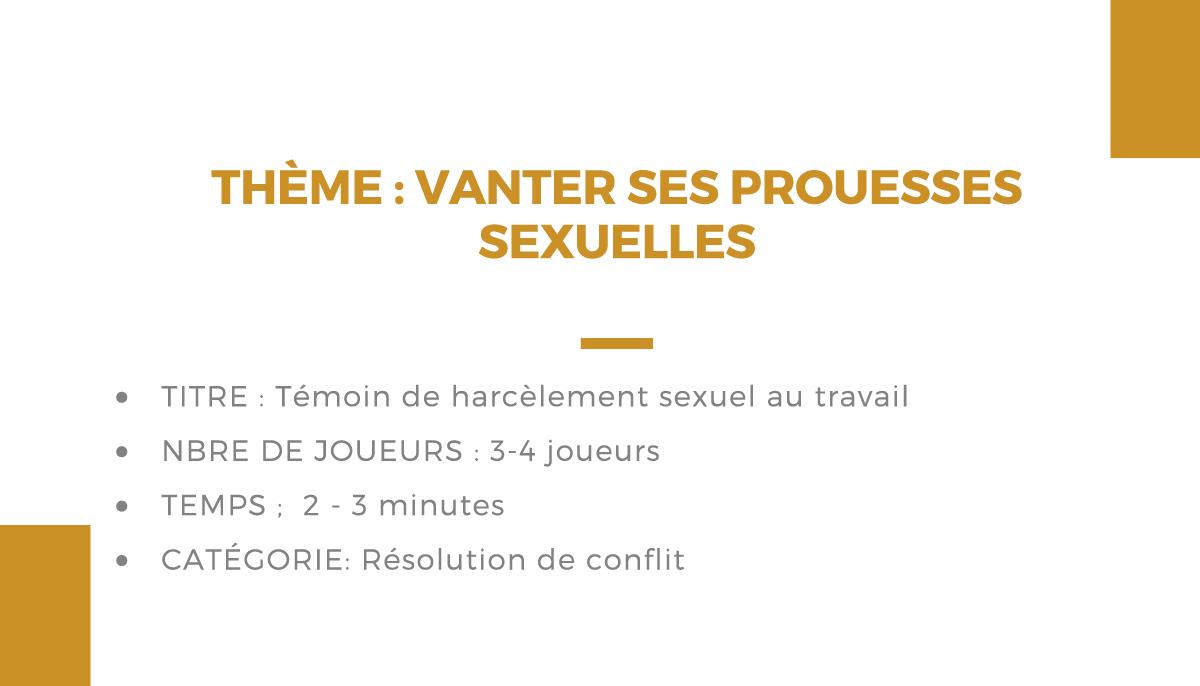 Atelier théâtrale : vanter ses prouesses sexuelles