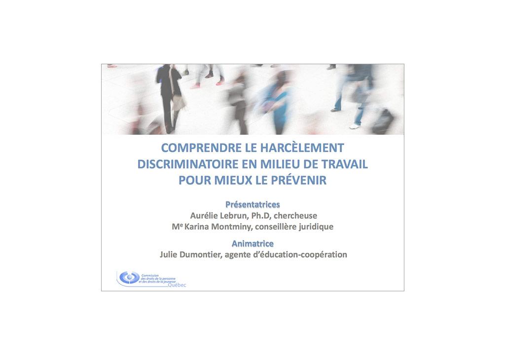 """Webinaire """"Comprendre le harcèlement discriminatoire en milieu de travail pour mieux le prévenir"""""""